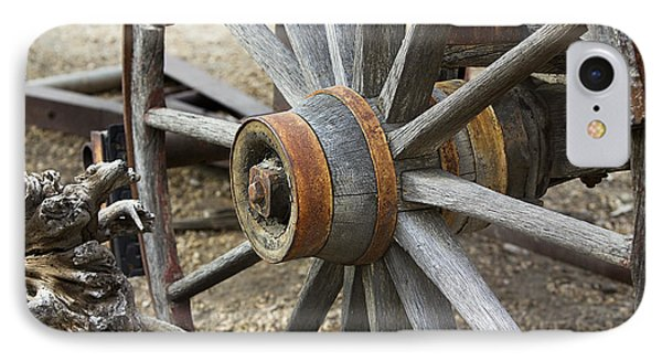 IPhone Case featuring the photograph Old Waagon Wheel by Phyllis Denton