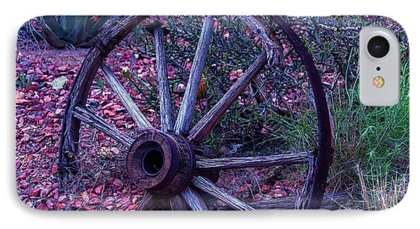 Old Wagon Wheel With Lizard IPhone Case by Garry Gay