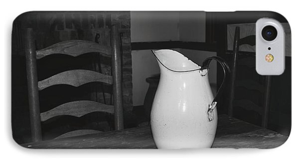 Old Water Pitcher - Black And White IPhone Case by Cindy Nearing
