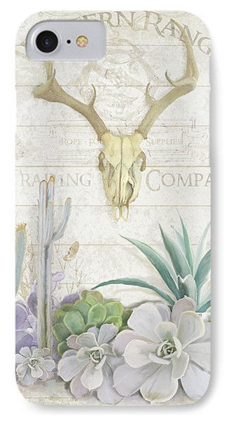 Old West Cactus Garden W Deer Skull N Succulents Over Wood IPhone Case by Audrey Jeanne Roberts