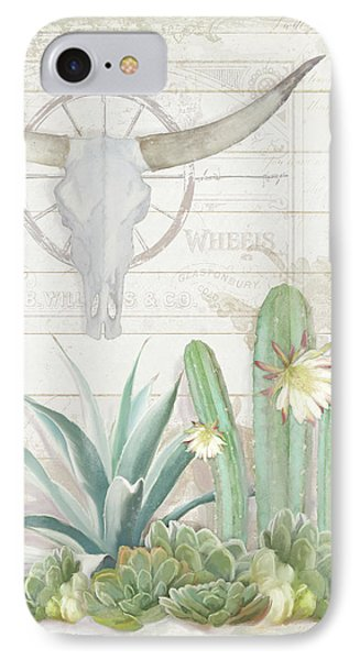 Old West Cactus Garden W Longhorn Cow Skull N Succulents Over Wood IPhone Case by Audrey Jeanne Roberts