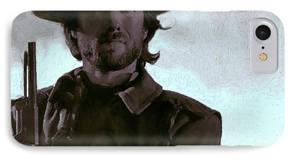 Old West Eastwood Painterly IPhone Case by Daniel Hagerman
