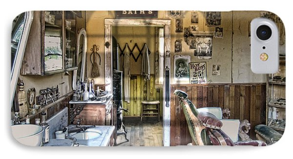 Old West Victorian Barber Shop Interior - Montana Territory Phone Case by Daniel Hagerman