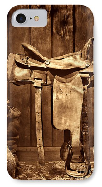 Old Western Saddle IPhone Case by American West Legend By Olivier Le Queinec
