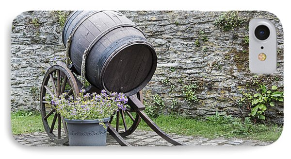 Old Wine Barrel With Wheels  IPhone Case by Compuinfoto
