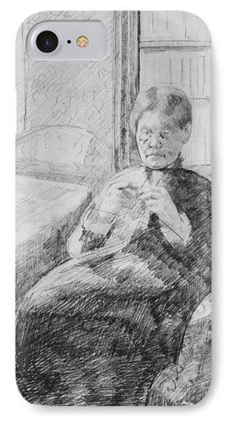 Old Woman Knitting IPhone Case by Mary Cassatt