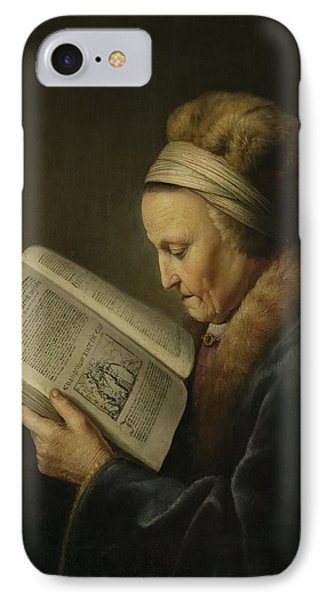 Old Woman Reading Phone Case by Gerard Dou