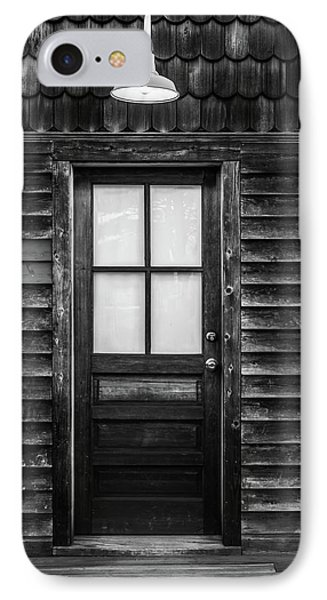 Old Wood Door And Light Black And White IPhone Case by Terry DeLuco