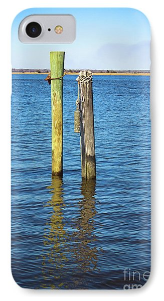 IPhone Case featuring the photograph Old Wood Pilings In Blue Water by Colleen Kammerer