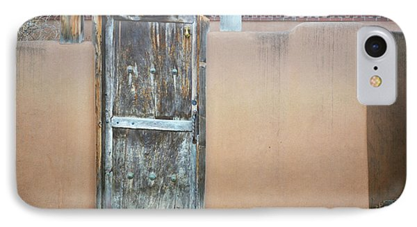 IPhone Case featuring the photograph Old Wooden Door Adobe by Andrea Hazel Ihlefeld