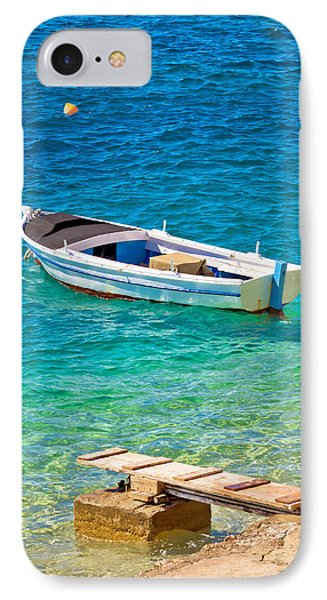 Old Wooden Fishermen Boat On Turquoise Beach IPhone Case