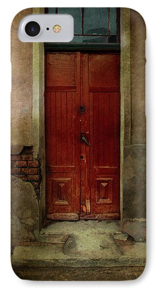 Old Wooden Gate Painted In Red  IPhone Case by Jaroslaw Blaminsky