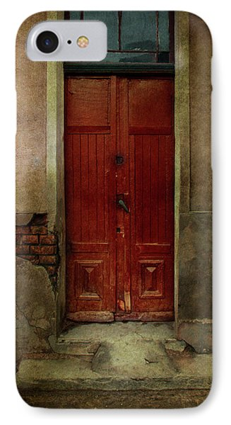 Old Wooden Gate Painted In Red  IPhone Case