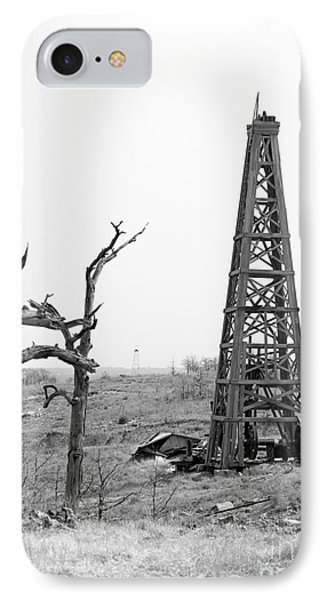 Old Wooden Oil Derrick Phone Case by Larry Keahey