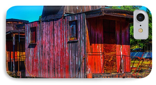 Old Wooden Red Caboose IPhone Case by Garry Gay