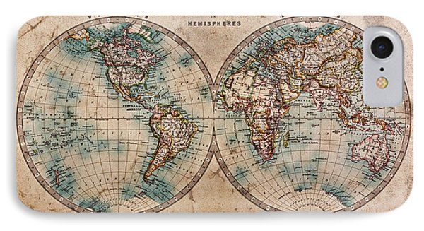 Old World Map In Hemispheres Phone Case by Richard Thomas