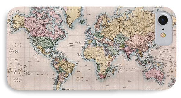 Old World Map On Mercators Projection Phone Case by Richard Thomas
