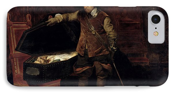 Oliver Cromwell Opening The Coffin Of Charles I  Phone Case by Hippolyte Delaroche