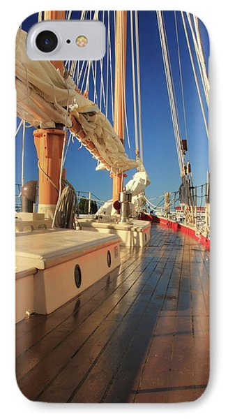 IPhone Case featuring the photograph On Deck Of The Schooner Eastwind by Roupen  Baker