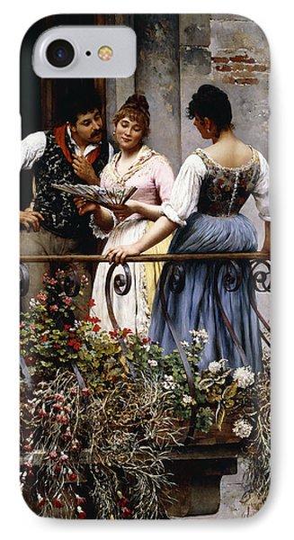 On The Balcony  IPhone Case by Eugen von Blaas