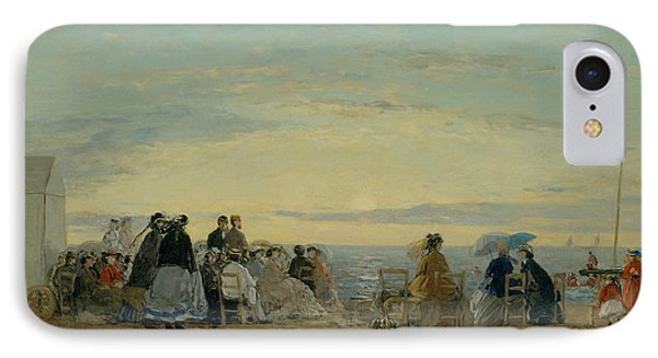 On The Beach, Sunset IPhone Case by Eugene Boudin