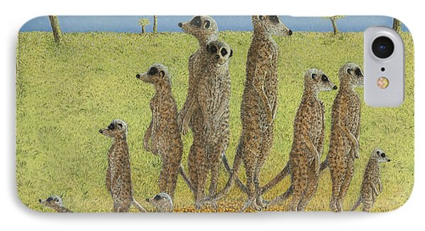 Meerkat iPhone 7 Case - On The Lookout by Pat Scott