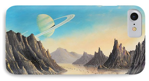 On The Moon Of A Ringed Exoplanet IPhone Case by Suresh Chakravarthy