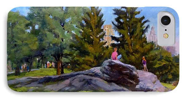 On The Rocks In Central Park Phone Case by Peter Salwen