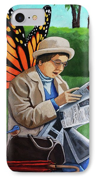 IPhone Case featuring the painting On Vacation -butterfly Angel Painting by Linda Apple