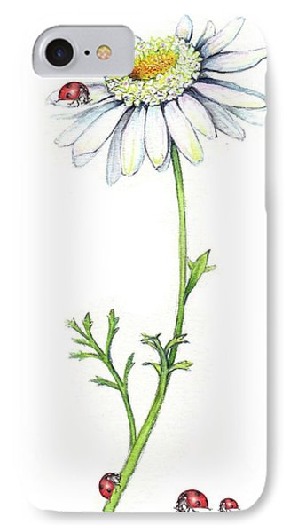 IPhone Case featuring the painting One Daisy And Four Ladybugs by Heidi Kriel