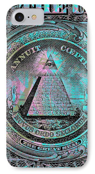 IPhone Case featuring the digital art One-dollar-bill - $1 - Reverse Side by Jean luc Comperat