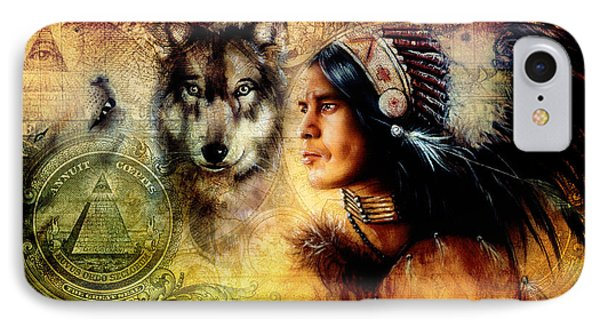 One Dollar Collage With Indian Man Warrior With Wolf Ornament Background IPhone Case by Jozef Klopacka
