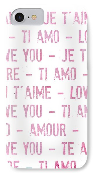 One Love Pink Typography Art IPhone Case by WALL ART and HOME DECOR