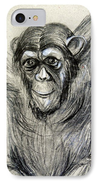 One Of A Kind Original Chimpanzee Monkey Drawing Study Made In Charcoal IPhone Case