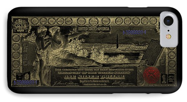 IPhone Case featuring the digital art One U.s. Dollar Bill - 1896 Educational Series In Gold On Black  by Serge Averbukh