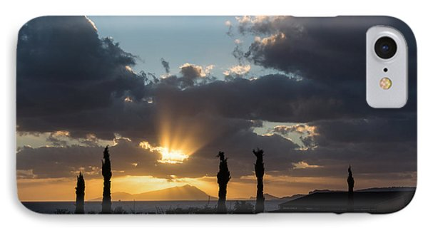 One Very Italian Sunset - Five Cypress Trees On The Shore IPhone Case