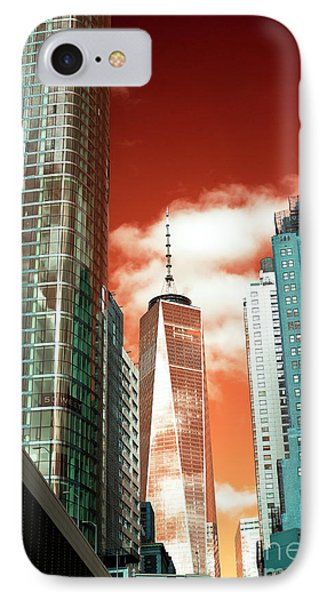 IPhone Case featuring the photograph One World Trade Center Pop Art by John Rizzuto