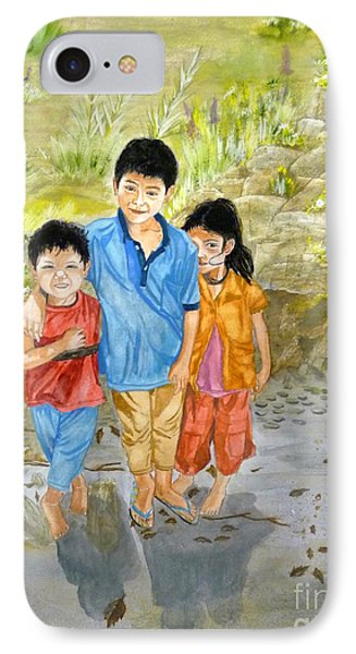 IPhone Case featuring the painting Onion Farm Children Bali Indonesia by Melly Terpening