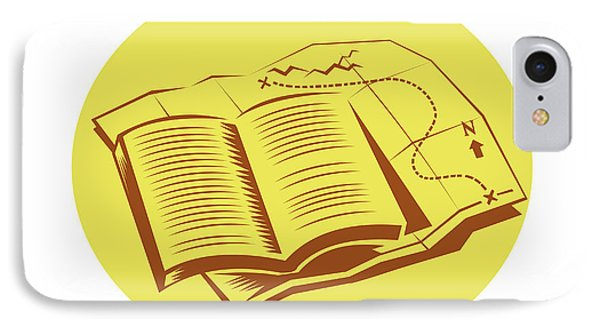Open Book Trail Map Oval Woodcut IPhone Case by Aloysius Patrimonio