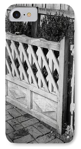 Open Garden Gate B W IPhone Case by Teresa Mucha