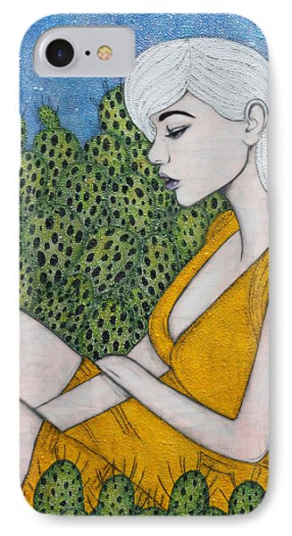 IPhone Case featuring the mixed media Opuntia by Natalie Briney