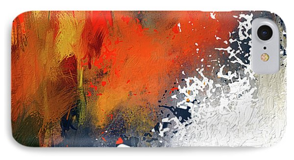 Splashes At Sunset - Orange Abstract Art IPhone Case by Lourry Legarde