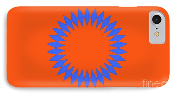 Orange And Blue Abstract Circle Landscape IPhone Case by Pablo Franchi