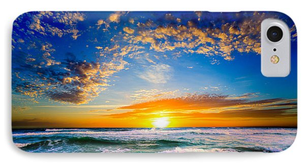 Orange And Blue Sunset Sun Setting Over The Ocean IPhone Case by Eszra Tanner
