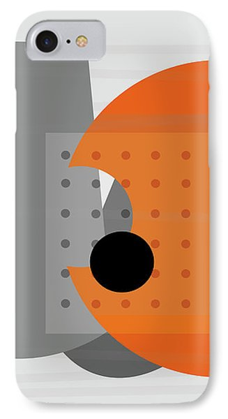 Orange And Gray Abstract Art IPhone Case by Ann Powell