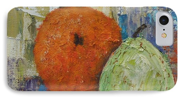 Orange And Pear Combo IPhone Case by Judith Espinoza