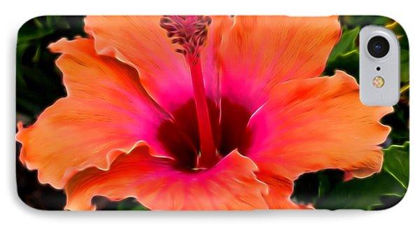 Orange And Pink Hibiscus 2 IPhone Case by Pamela Walton