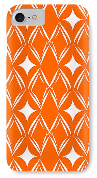 Orange And White Diamonds IPhone Case by Linda Woods