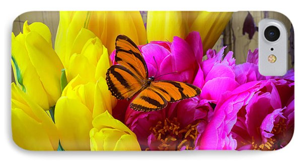 Orange Butterfly On Peony IPhone Case