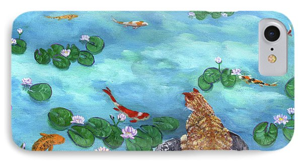 Orange Cat At Koi Pond Phone Case by Laura Iverson